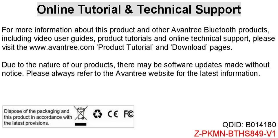 avantree.com Product Tutorial and Download pages.