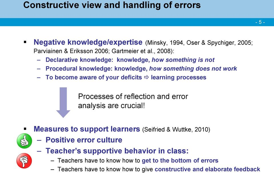 learning processes Processes of reflection and error analysis are crucial!