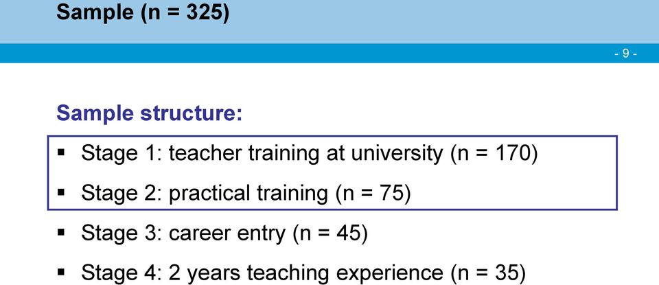 practical training (n = 75) Stage 3: career entry