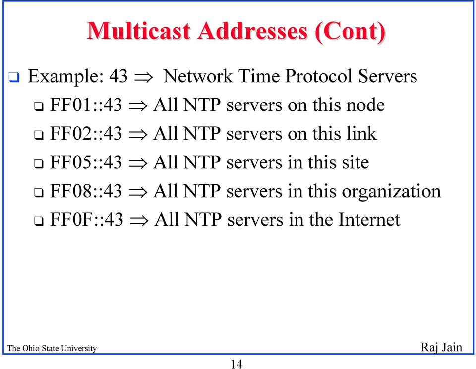 this link q FF05::43 All NTP servers in this site q FF08::43 All NTP