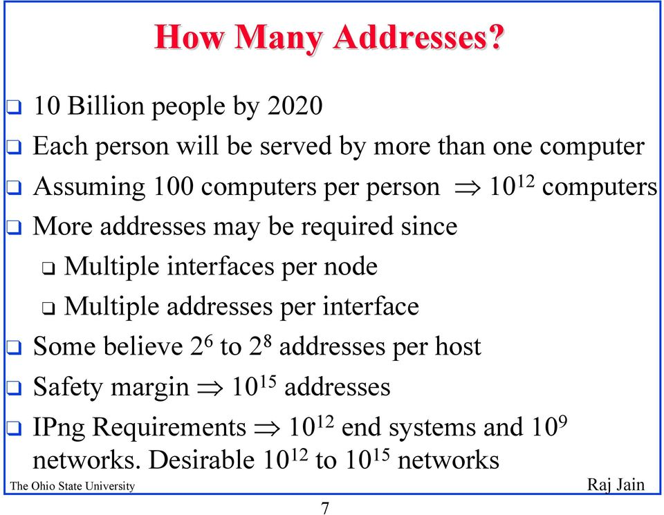 per person 10 12 computers q More addresses may be required since q Multiple interfaces per node q Multiple