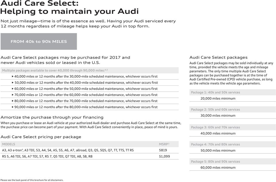 lect packages may be purchased for 2017 and newer Audi vehicles sold or leased in the U.S.