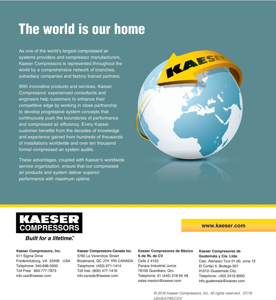 With innovative products and services, Kaeser Compressors experienced consultants and engineers help customers to enhance their competitive edge by working in close partnership to develop progressive