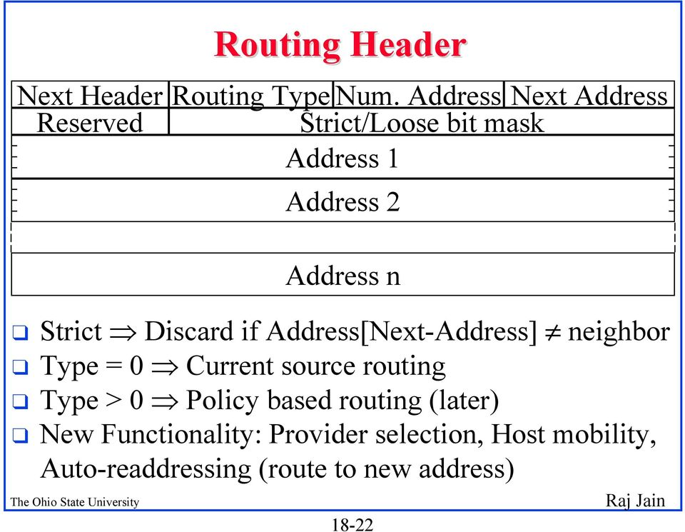 Strict Discard if Address[Next-Address] neighbor q Type = 0 Current source routing q