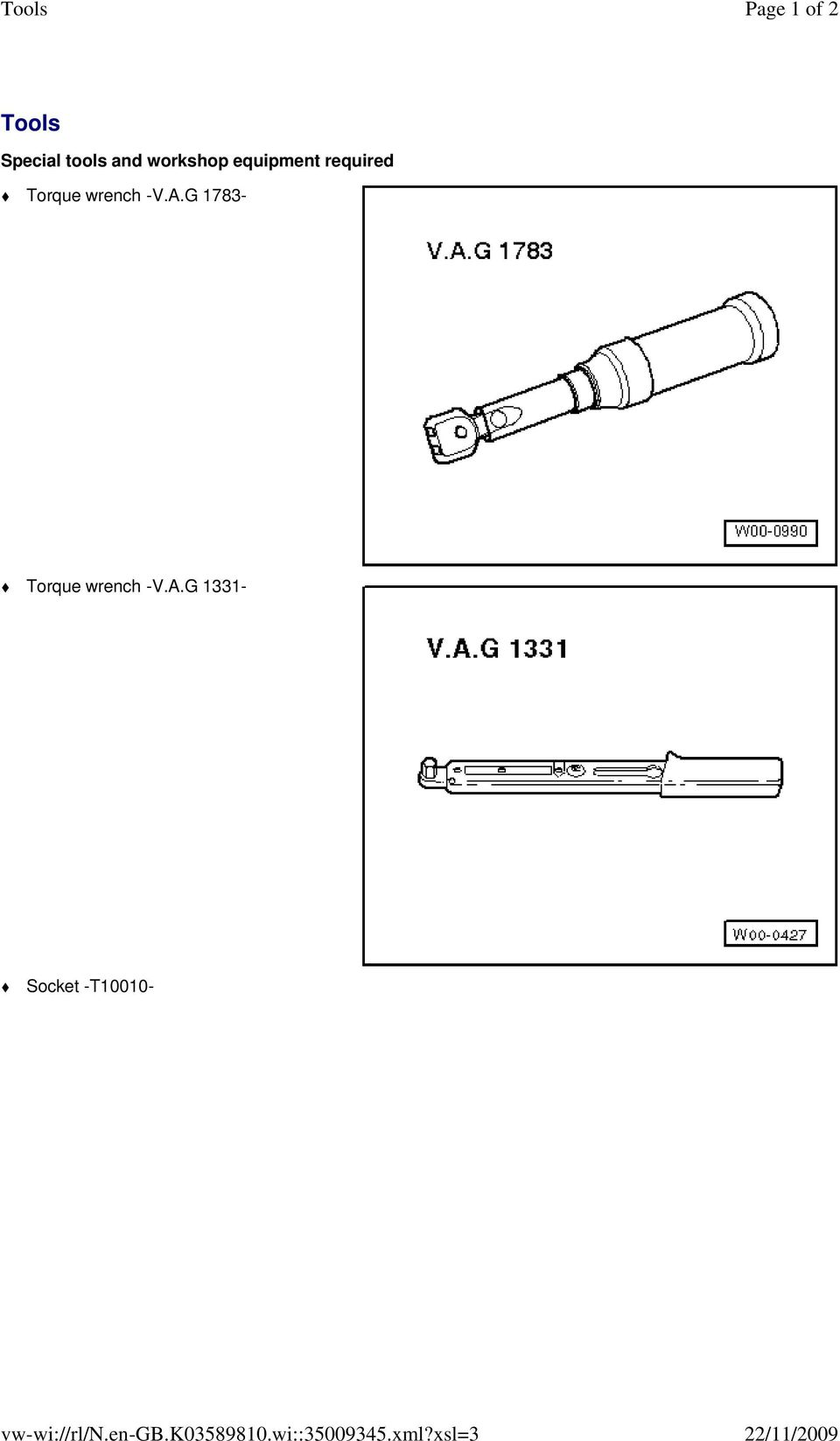 workshop equipment required Torque wrench -V.A.