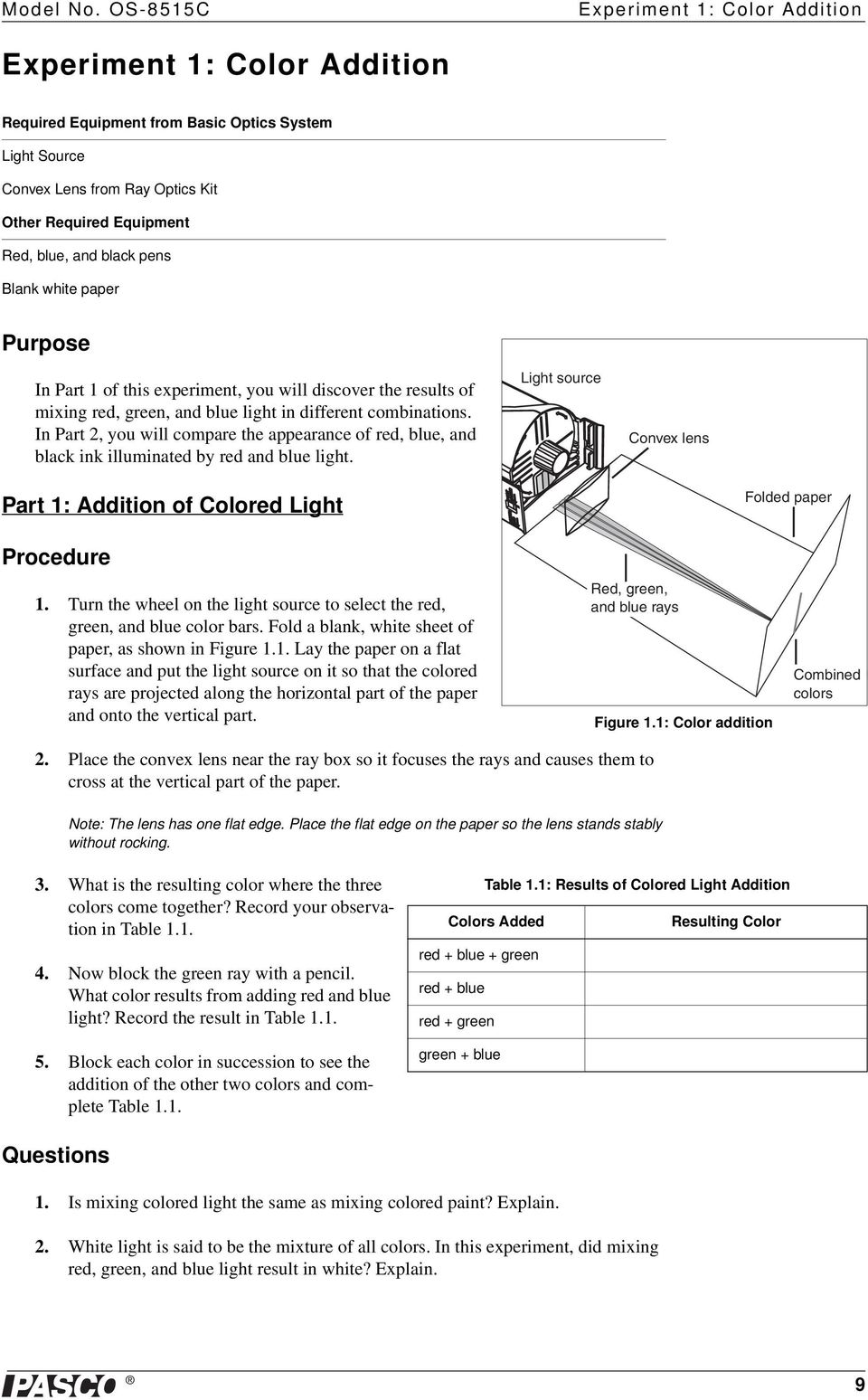 black pens Blank white paper Purpose In Part 1 of this experiment, you will discover the results of mixing red, green, and blue light in different combinations.