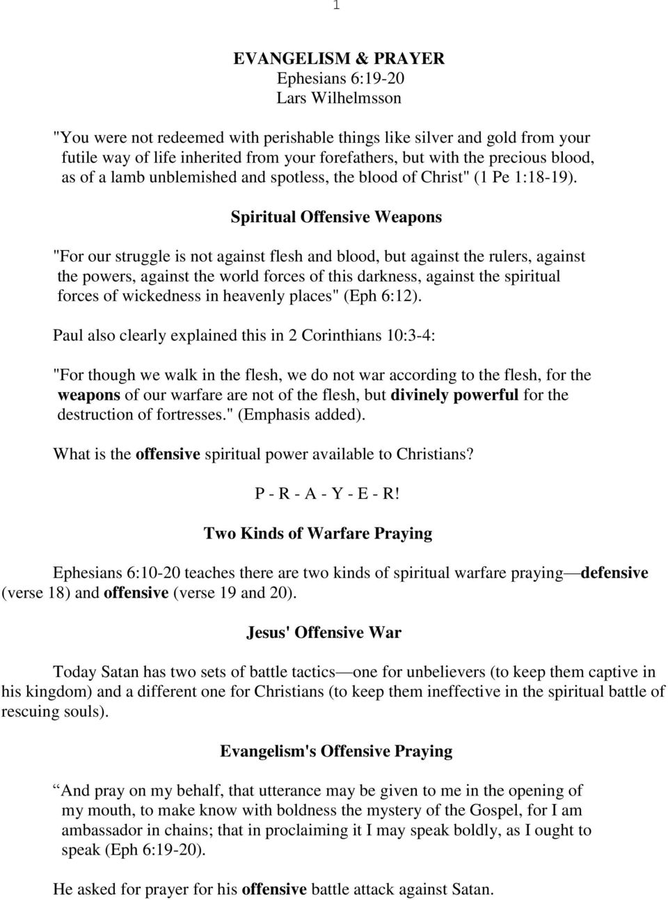 Warfare Prayer 1