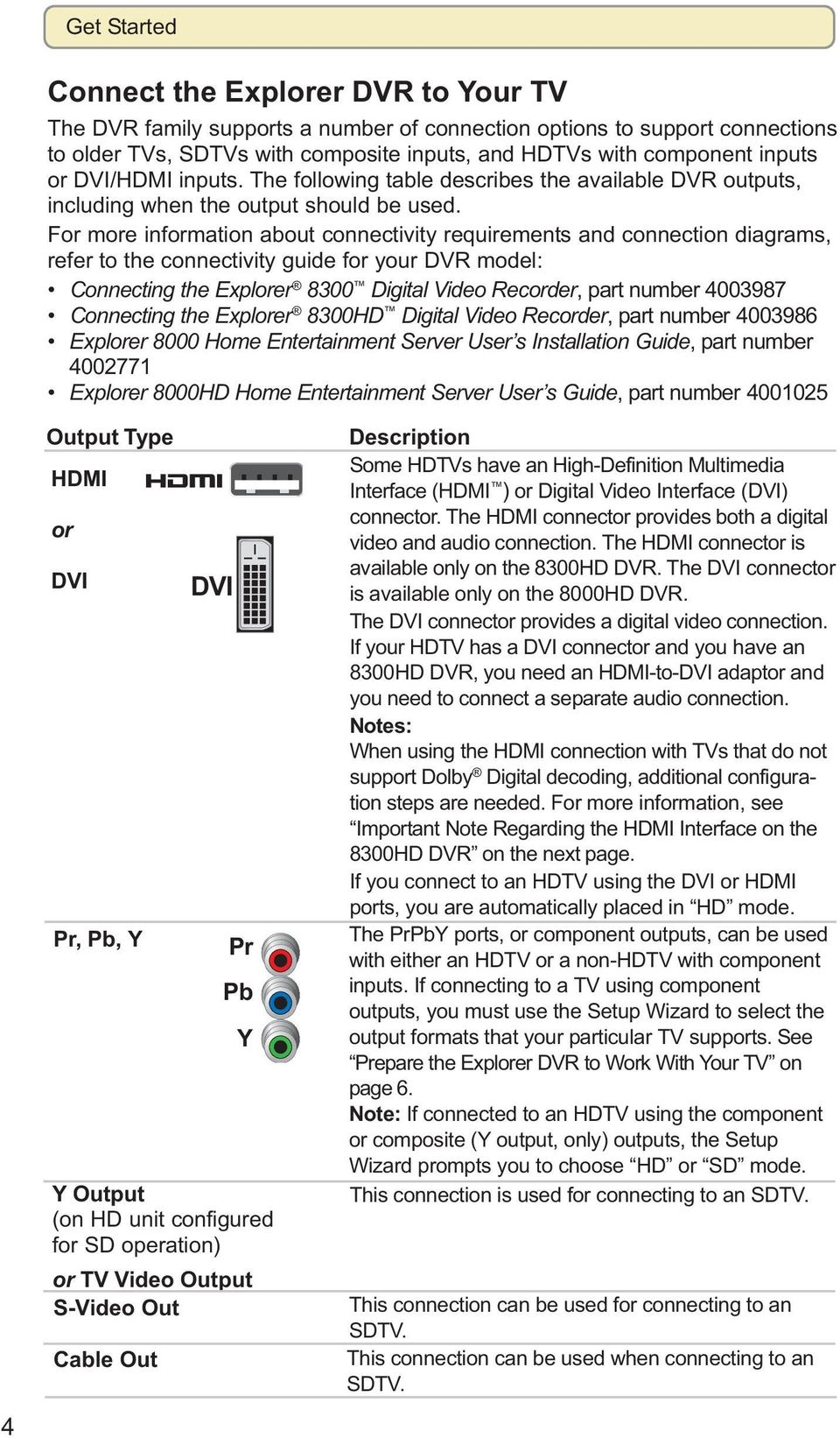 For more information about connectivity requirements and connection diagrams, refer to the connectivity guide for your DVR model: Connecting the Explorer 8300 Digital Video Recorder, part number