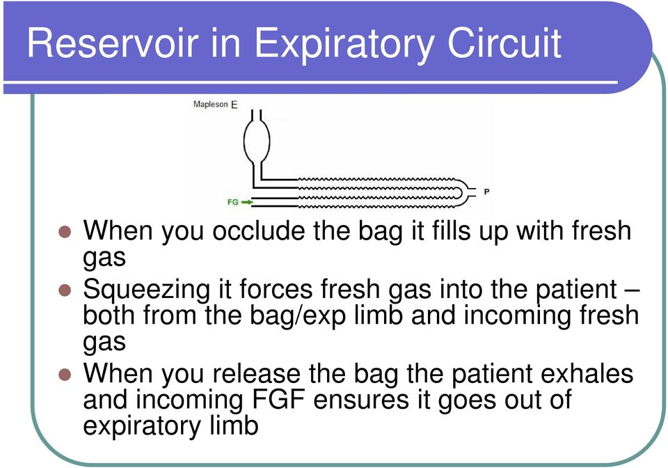 from the bag/exp limb and incoming fresh gas When you release the bag