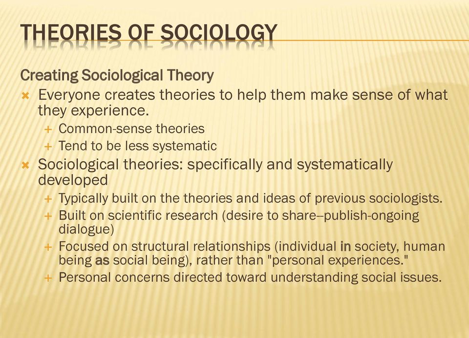 theories and ideas of previous sociologists.