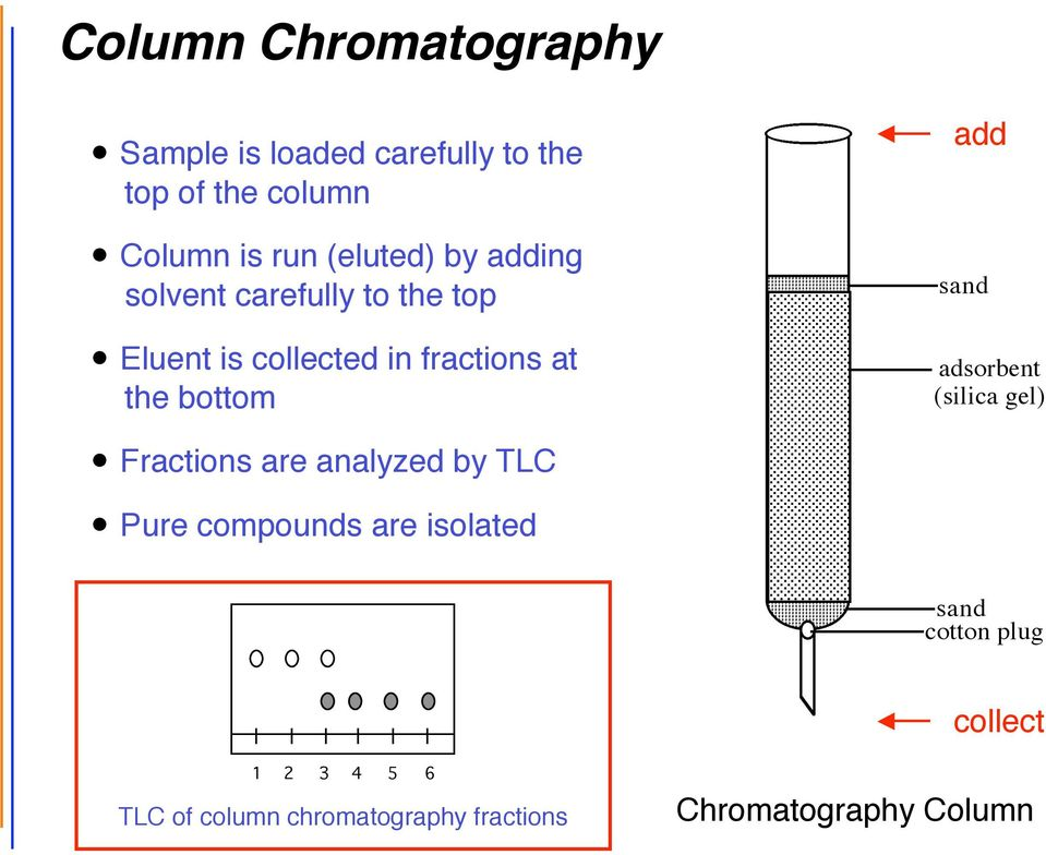 in fractions at the bottom Fractions are analyzed by TLC Pure compounds are