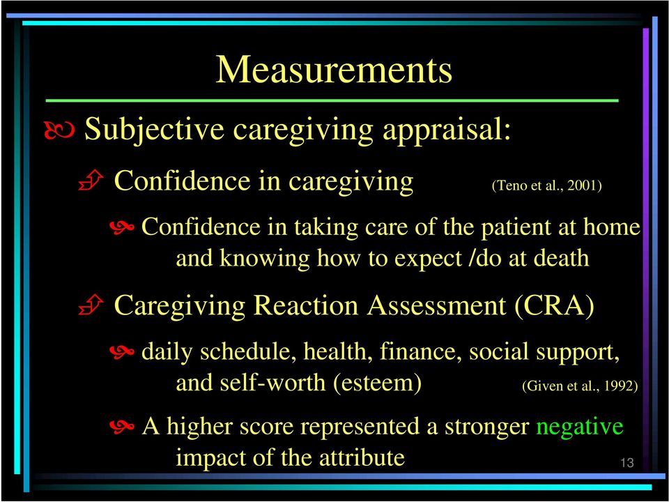 Caregiving Reaction Assessment (CRA) daily schedule, health, finance, social support, and