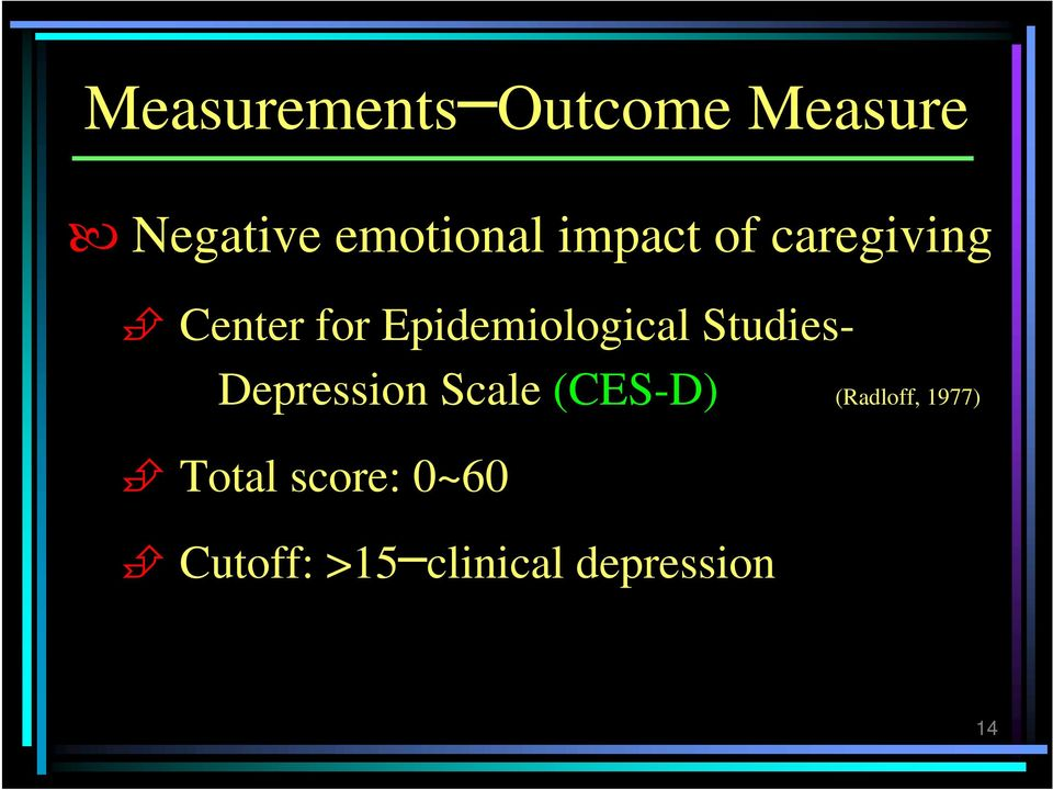 Studies- Depression Scale (CES-D) (Radloff, 1977)