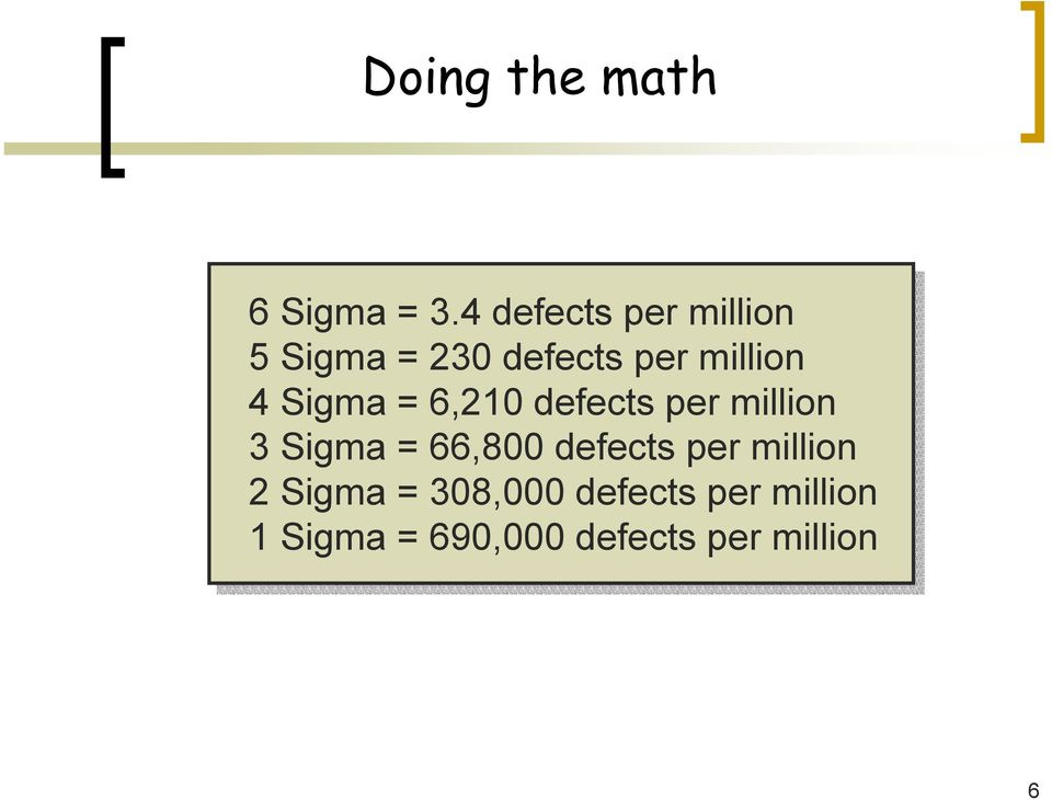 Sigma = 6,210 defects per million 3 Sigma = 66,800 defects