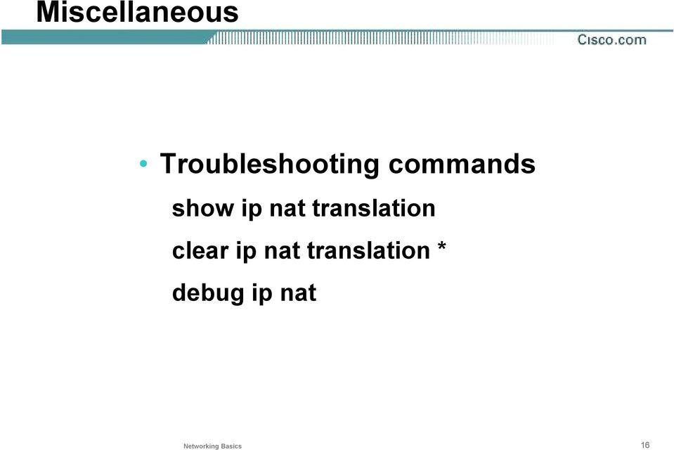 translation clear ip nat