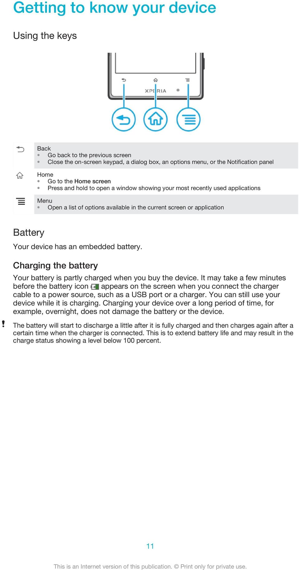 Charging the battery Your battery is partly charged when you buy the device.