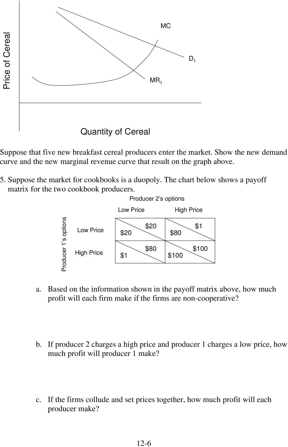 The chart below shows a payoff matrix for the two cookbook producers. Producer 2 s options Low Price High Price Producer 1 s options Low Price High Price $20 $1 $20 $80 $80 $100 $1 $100 a.