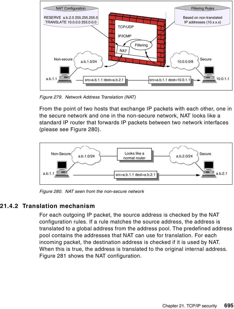 Network Address Translation (NAT) From the point of two hosts that exchange IP packets with each other, one in the secure network and one in the non-secure network, NAT looks like a standard IP