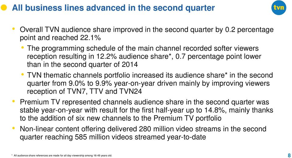 7 percentage point lower than in the second quarter of 2014 TVN thematic channels portfolio increased its audience share* in the second quarter from 9.0% to 9.