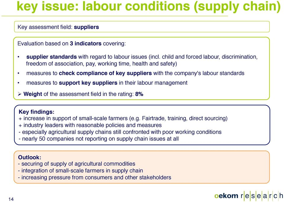 support key suppliers in their labour manage