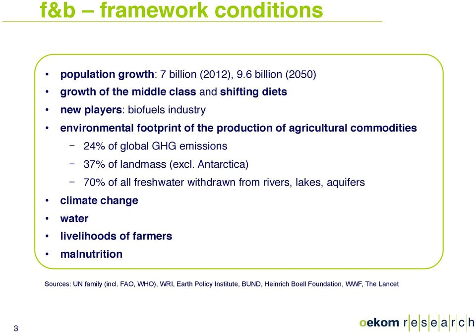 production of agricultural commodities 24% of global GHG emissions 37% of landmass (excl.