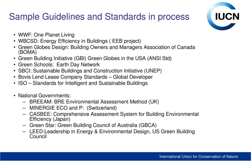 Global Developer ISO Standards for Intelligent and Sustainable Buildings National Governments: BREEAM: BRE Environmental Assessment Method (UK) MINERGIE ECO and P: (Switzerland) CASBEE: