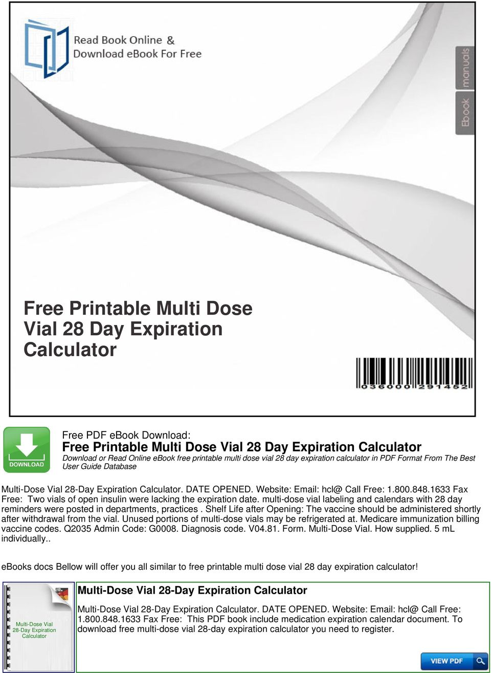Free printable multi dose vial 28 day expiration calculator pdf 1633 fax free two vials of open insulin were lacking the expiration date multi fandeluxe Image collections