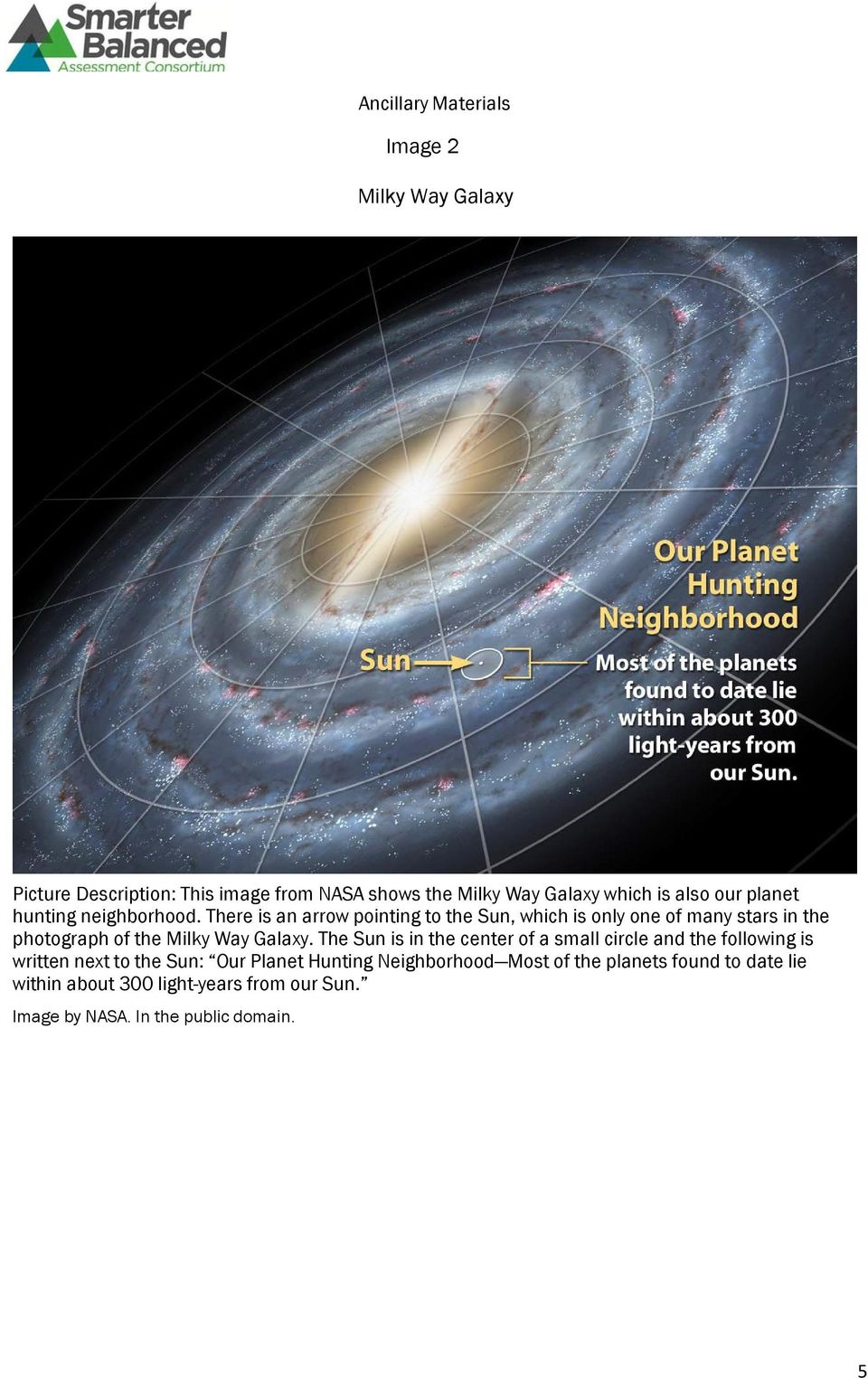 There is an arrw pinting t the Sun, which is nly ne f many stars in the phtgraph f the Milky Way Galaxy.