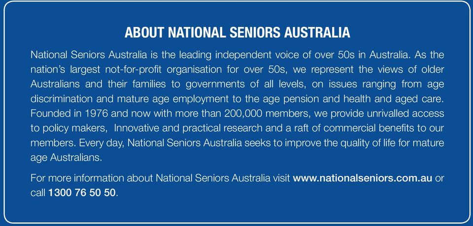 from age discrimination and mature age employment to the age pension and health and aged care.
