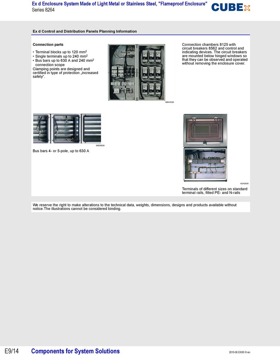 The circuit breakers are mounted below hinged windows so that they can be observed and operated without removing the enclosure cover.