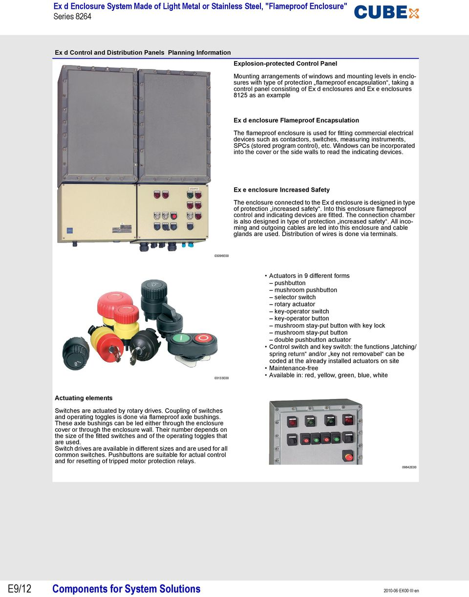 commercial electrical devices such as contactors, switches, measuring instruments, SPCs (stored program control), etc.