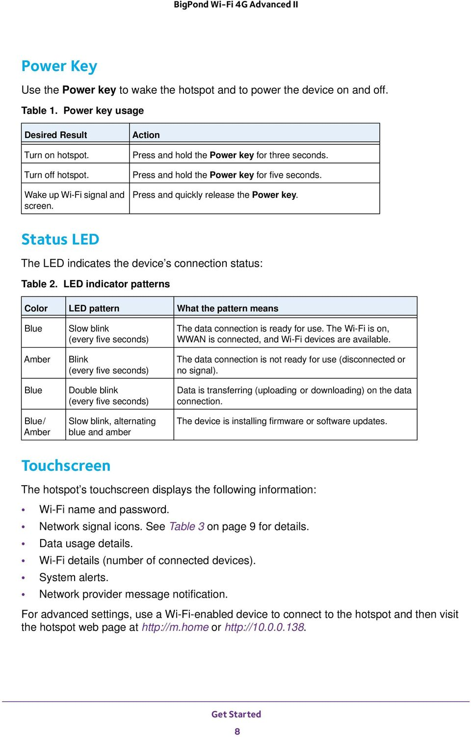 Status LED The LED indicates the device s connection status: Table 2.
