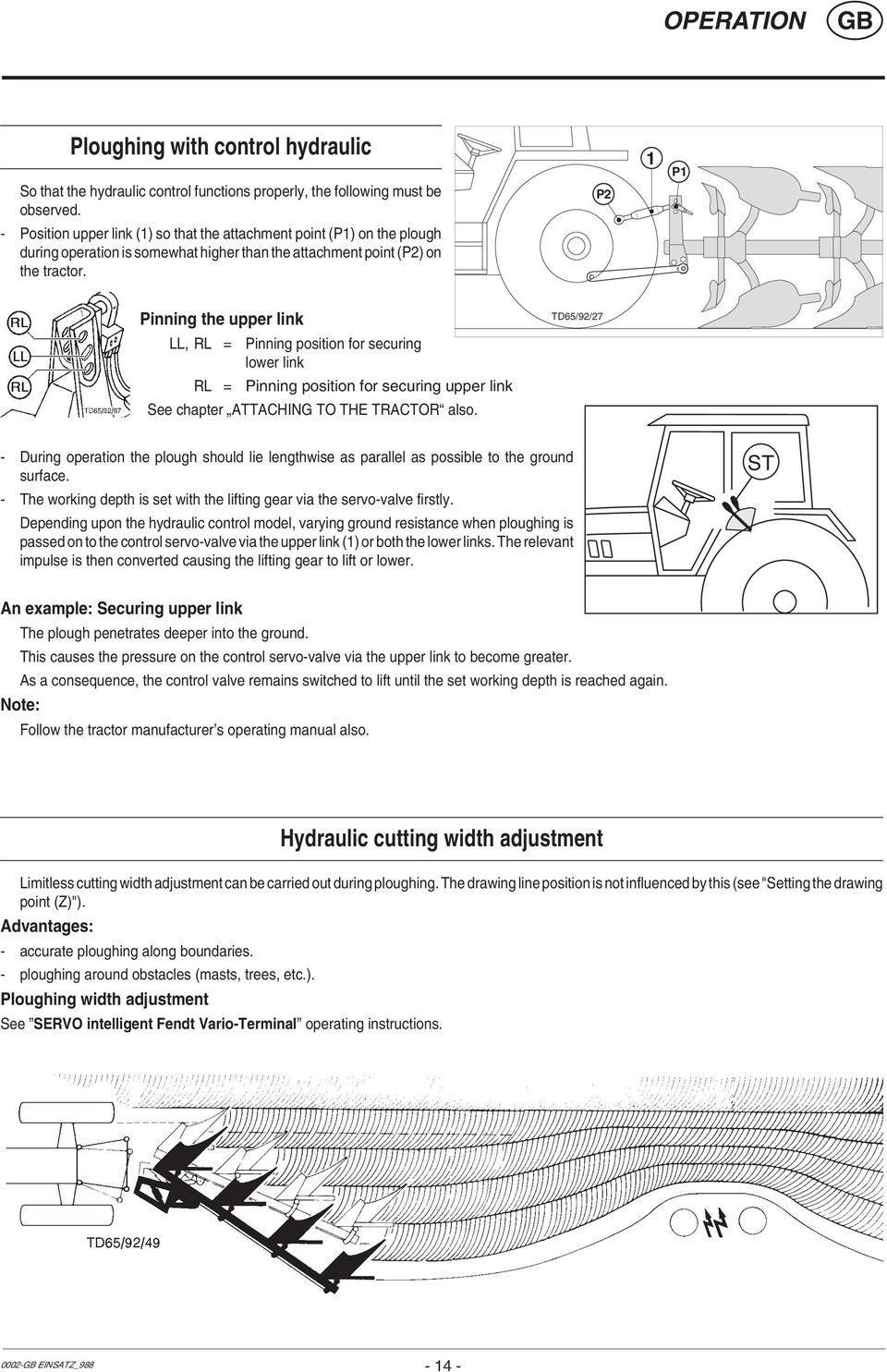 Operators Manual Instructions For Product Delivery Page 3 Helical Wire Harness Lay P Pinning The Upper Link Ll Rl Position Securing Lower