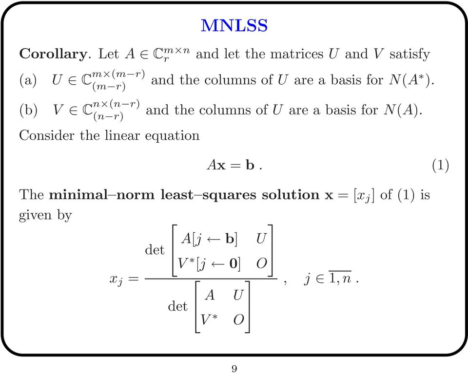 columns of U are a basis for N(A ).