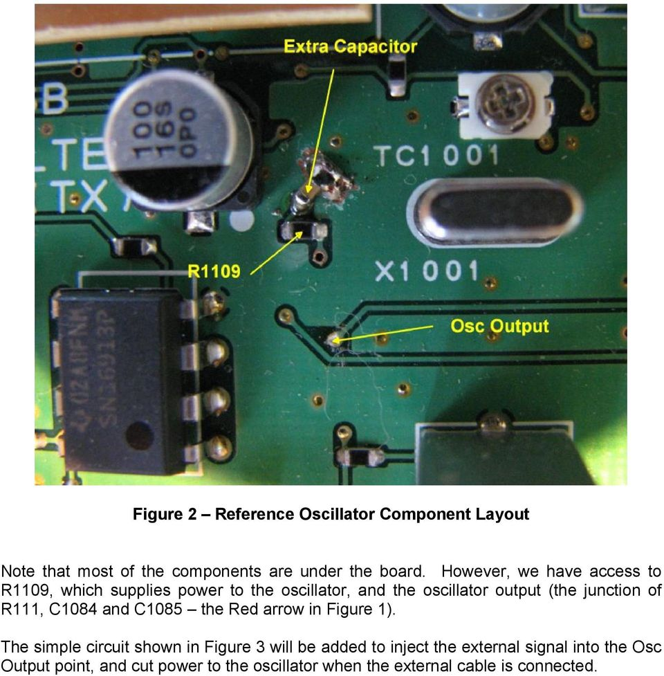 Modifying The Yaesu Ft 847 External Mhz Reference Input Pdf Figure 2 Components Layout Of This Circuit Junction R111 C1084 And C1085 Red Arrow In 1