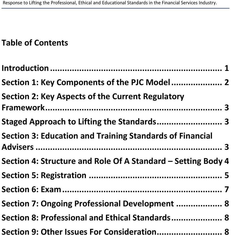 .. 3 Section 3: Education and Training Standards of Financial Advisers.