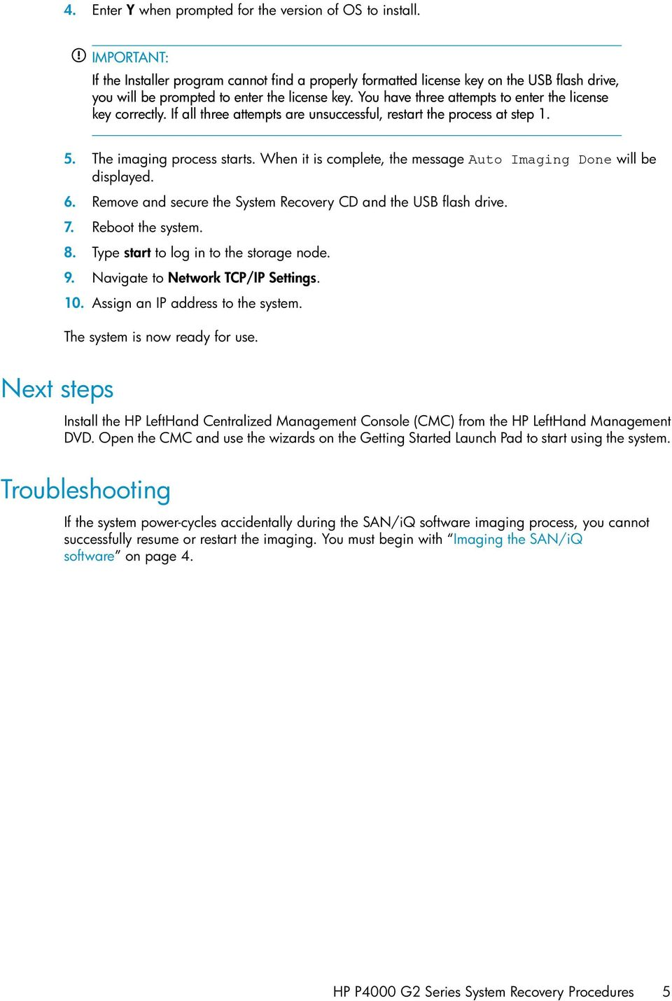 HP P4000 G2 Series System Recovery Procedures - PDF
