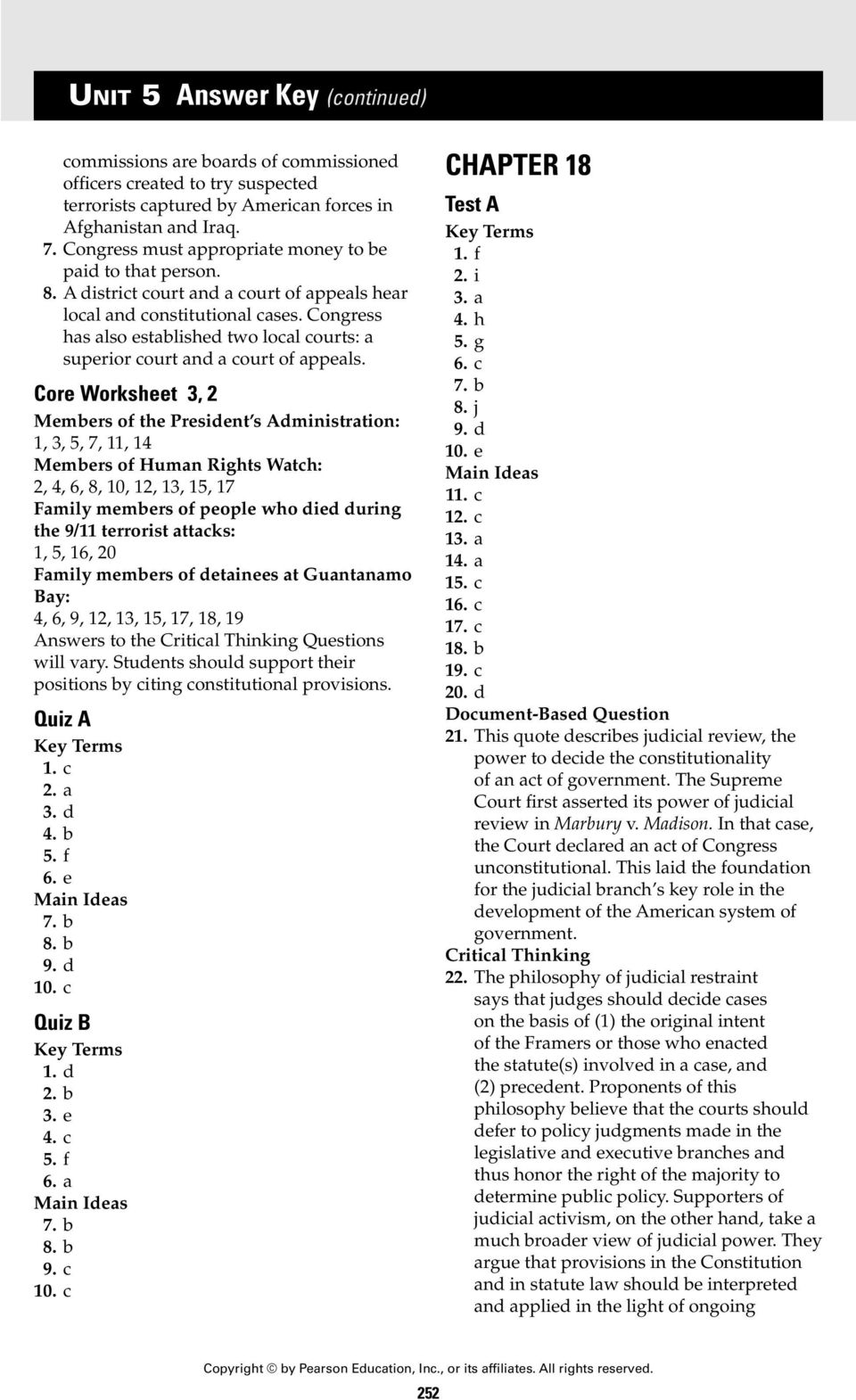 Worksheets Judicial Branch Worksheet unit 5 answer key chapter 18 section 1 pdf core worksheet 3 2 members of the president s administration 3