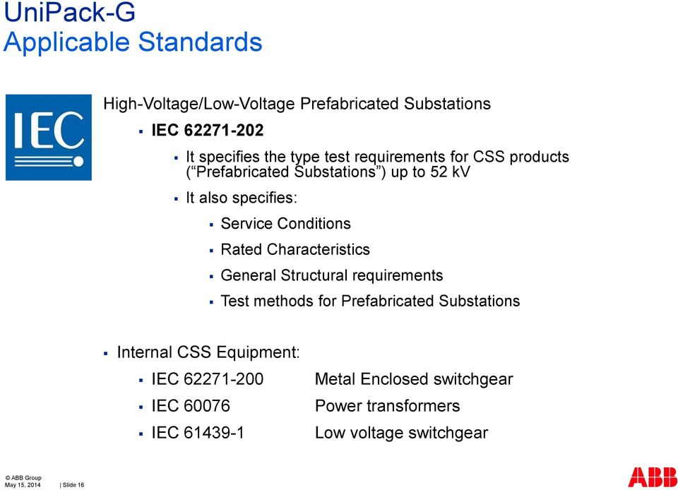 Characteristics General Structural requirements Test methods for Prefabricated Substations Internal CSS Equipment: