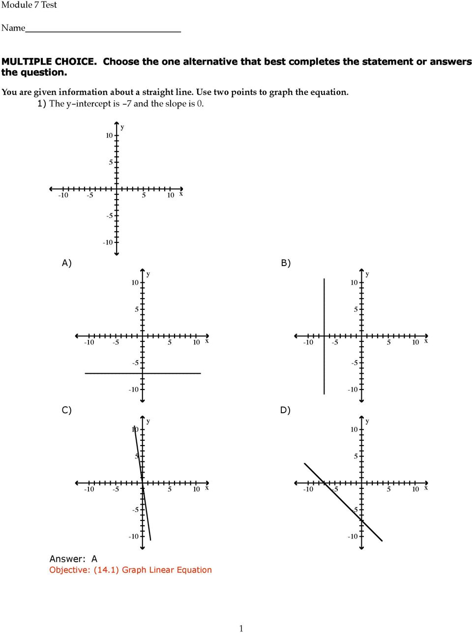 You are given information about a straight line. Use two points to graph the equation.
