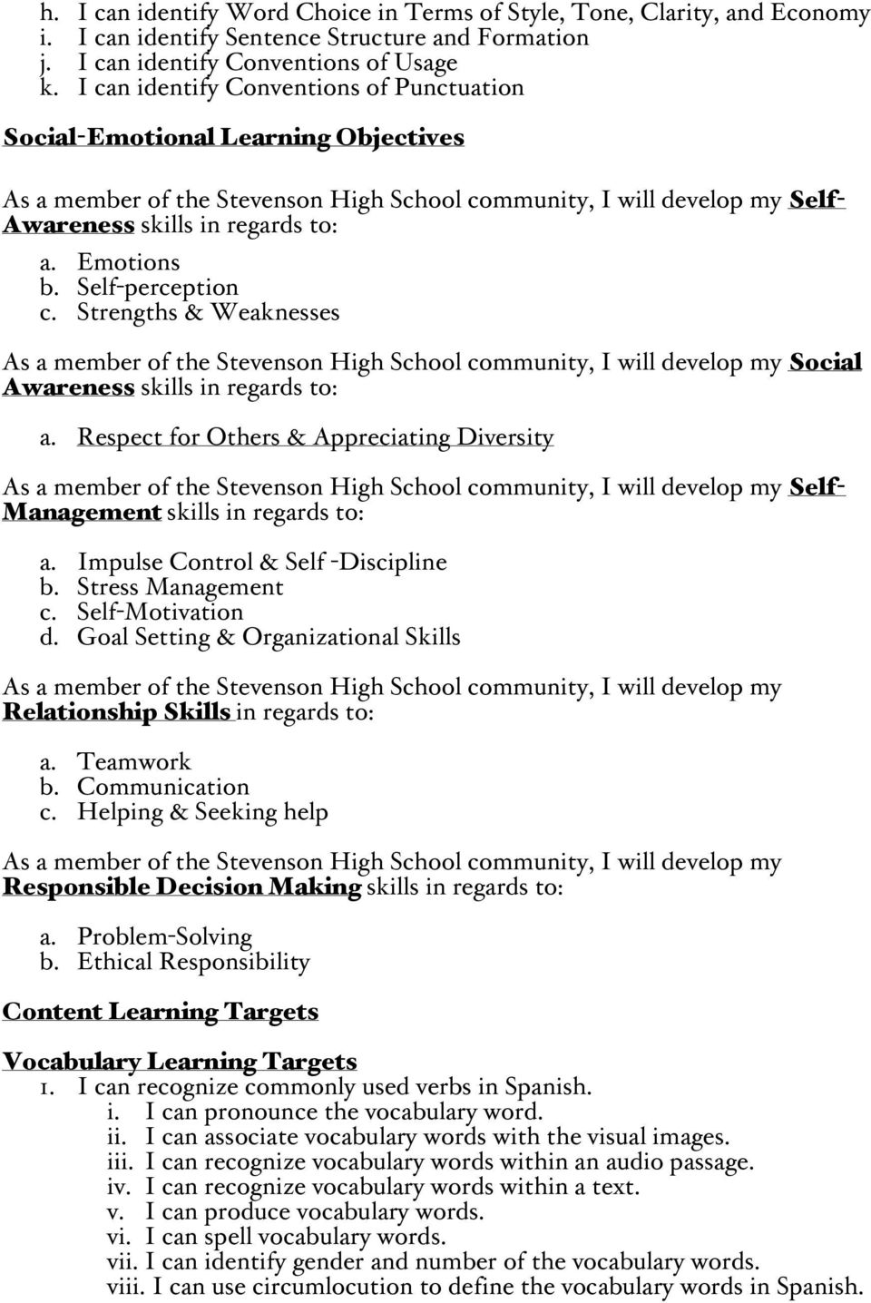 Emotions b. Self-perception c. Strengths & Weaknesses As a member of the Stevenson High School community, I will develop my Social Awareness skills in regards to: a.