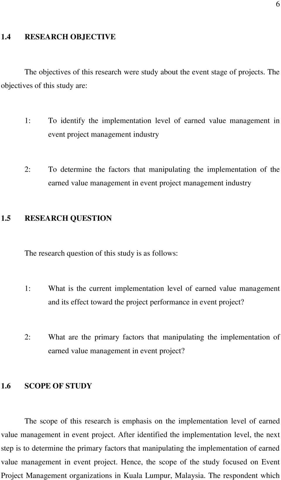 implementation of the earned value management in event project management industry 1.