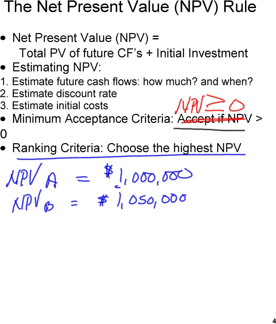 Estimate future cash flows: how much? and when? 2. Estimate discount rate 3.