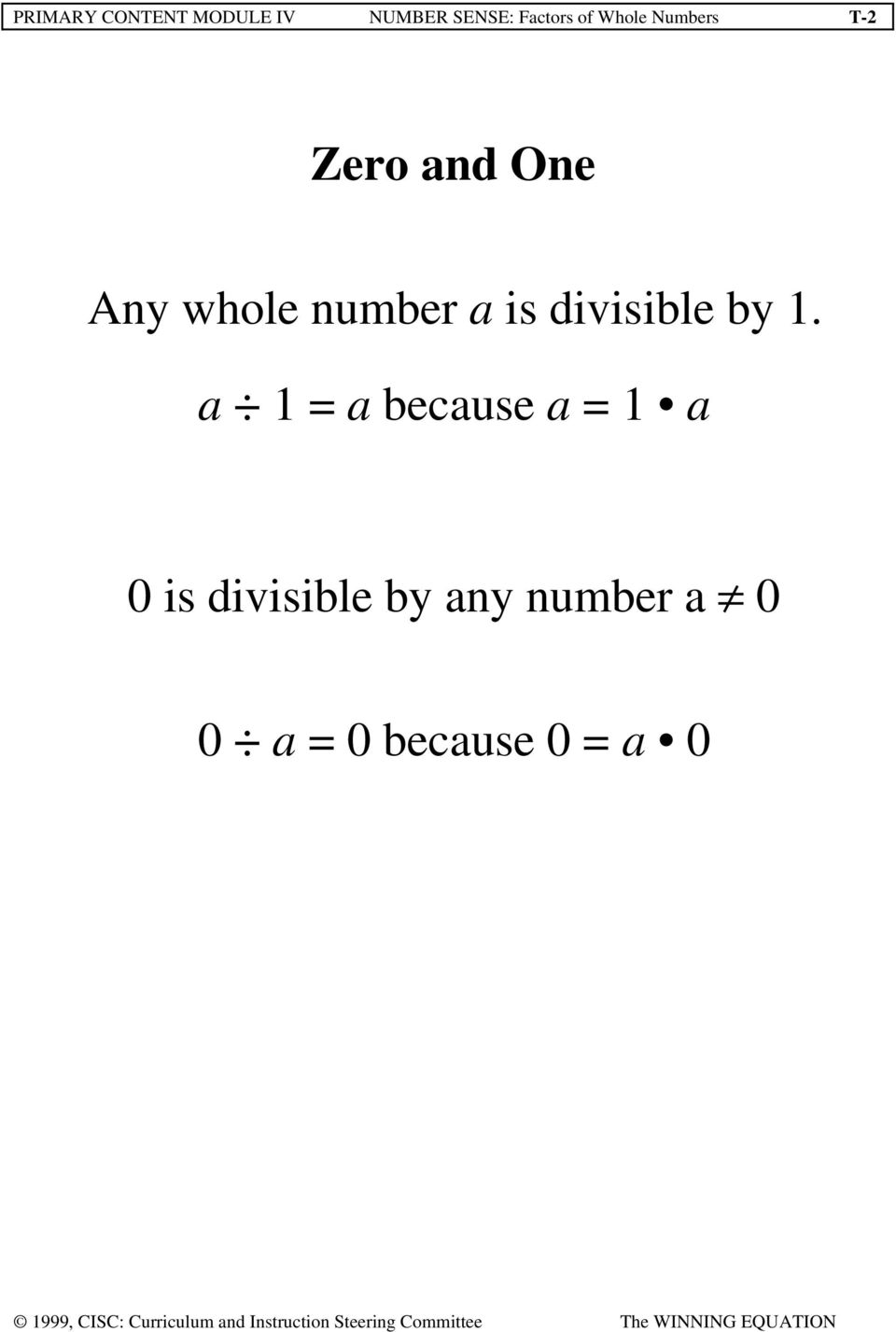 number a is divisible by 1.