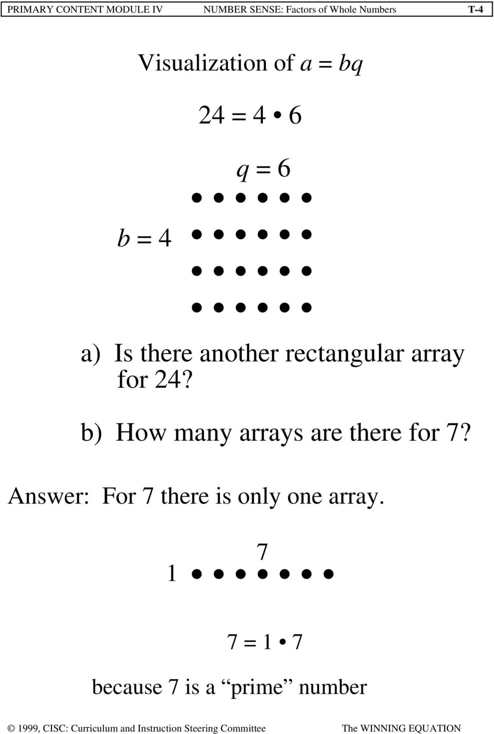 rectangular array for 24? b) How many arrays are there for 7?