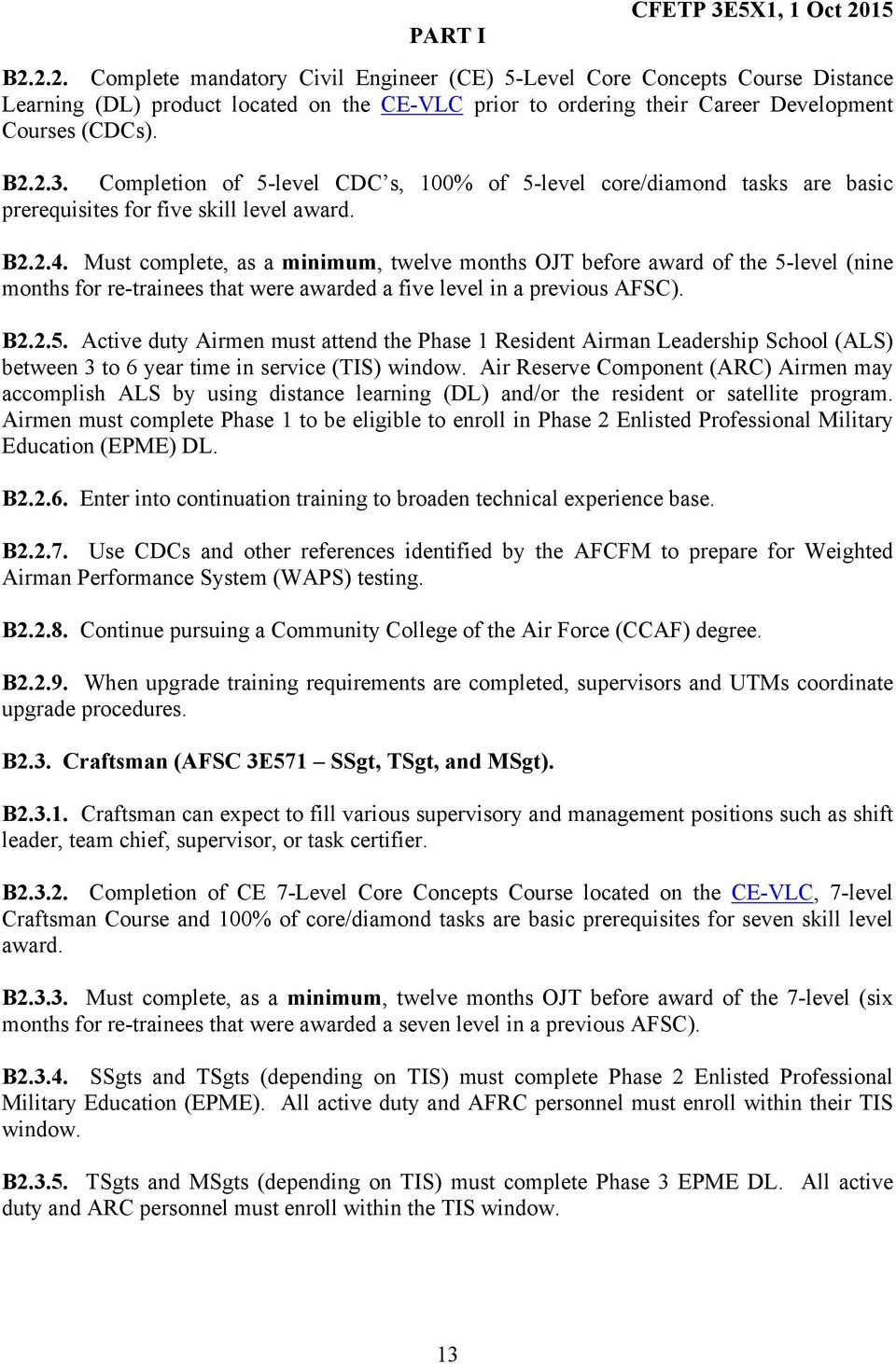 department of the air force air force specialty code afsc 3e5x1 must complete as a minimum twelve months ojt before award of the 5