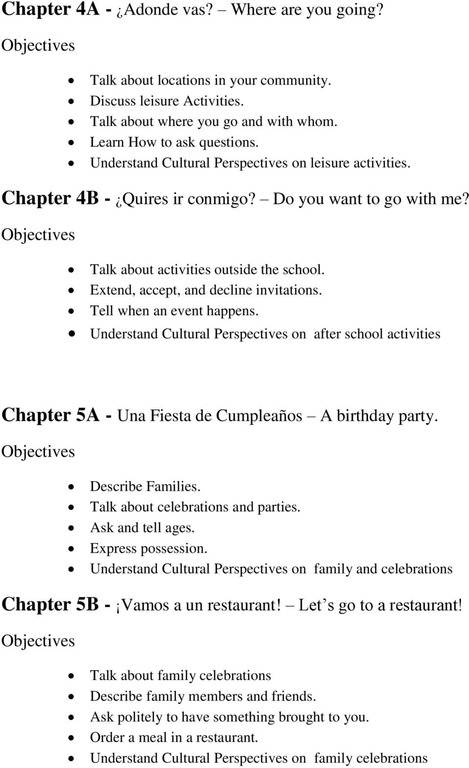 Tell when an event happens. Understand Cultural Perspectives on after school activities Chapter 5A - Una Fiesta de Cumpleaños A birthday party. Describe Families. Talk about celebrations and parties.