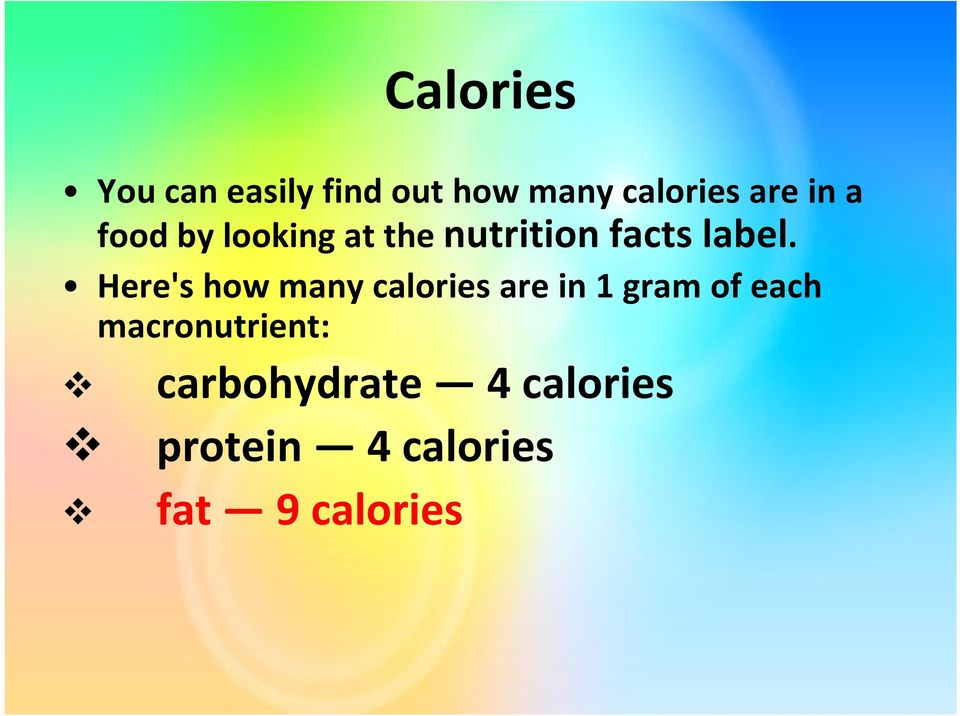 Here's how many calories are in 1 gram of each