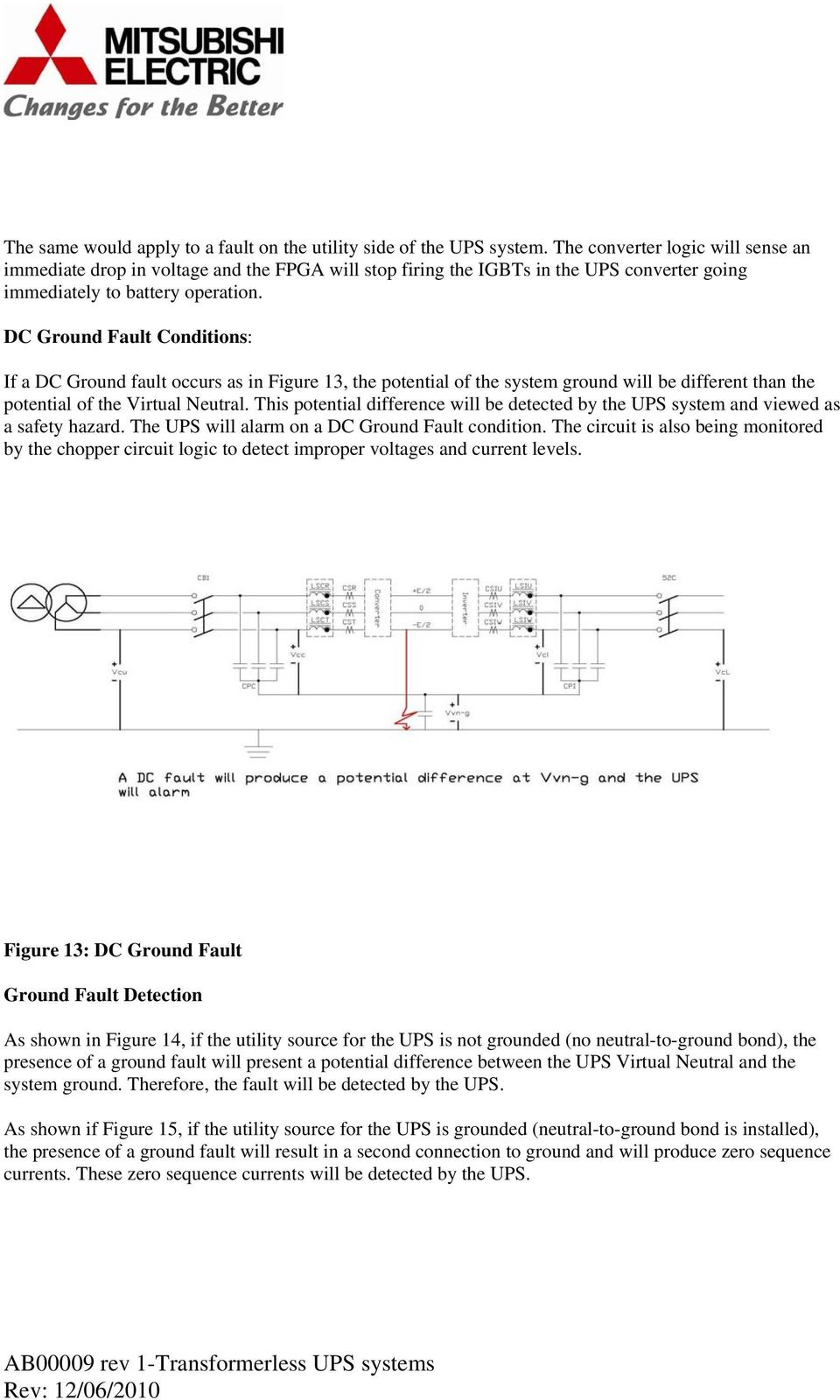 DC Ground Fault Conditions: If a DC Ground fault occurs as in Figure 13, the potential of the system ground will be different than the potential of the Virtual Neutral.