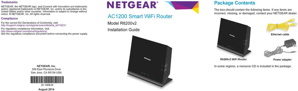 com/app/answers/detail/a_id/11621/. For regulatory compliance information, visit: http://www.netgear.com/about/regulatory/. See the regulatory compliance document before connecting the power supply.